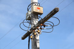 Electric pole junction Stock Photography