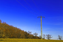 Electric Pole Parallelism: Nature deep blue sky Stock Image