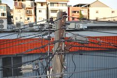Electric pole in Pattaya royalty free stock photography