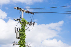 Electric pole power line Royalty Free Stock Photos