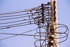 Electric pole power lines and many cables wires Stock Photos