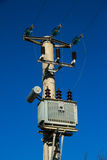 Electric pole with power lines and transformer. An electric pole with a transformer and wires Stock Photo