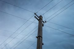 Electric pole power lines Stock Photos