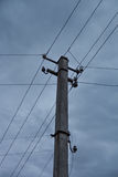 Electric pole power lines Royalty Free Stock Photos