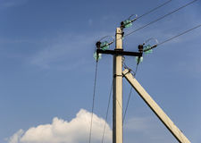 Electric pole power lines and wires Royalty Free Stock Image