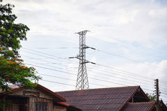 Electric pole On the roof Royalty Free Stock Photos