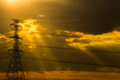 Electric pole sunset Royalty Free Stock Photography