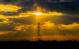 Electric pole sunset Royalty Free Stock Photos