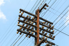 Electric pole with wires Royalty Free Stock Images
