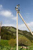 Electric pole with wires Stock Images