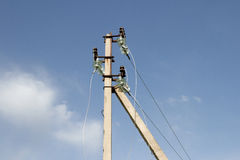 Electric pole with wires Royalty Free Stock Photography