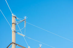 Electric pole with wires Royalty Free Stock Image