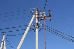 Electric pole wires stock photo