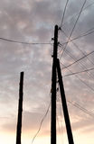 Electric pole with wires at sunset Stock Photography