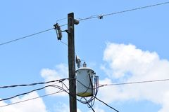 Electric pole wires and transformer. Electric supply system for the community Stock Images