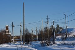 Electric poles. Away from the village royalty free stock photography