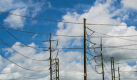 Electric poles. With blue sky backgrounds royalty free stock photos