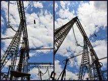 Electric poles collage Stock Photos