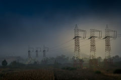 Electric poles. In the countryside stock photography