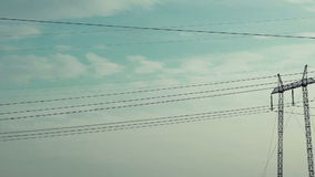Electric Poles Drive Way, Shot from the Vehicle in Motion stock video footage