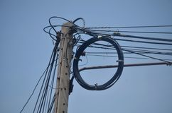 Electric poles on the sky. Electric poles and electrical wires stock photos