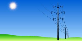 Electric poles. In the field Stock Image