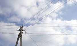 Electric poles, high voltage wires royalty free stock photos