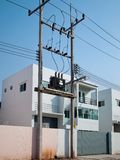 Electric poles and transformers Royalty Free Stock Photography