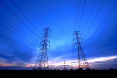 Electric Poles Under Twilight, Thailand Royalty Free Stock Photography