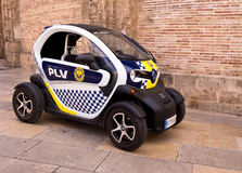 Electric Police Car in Valencia city, Spain. Small electric  police car parked in Valencia city, Spain Royalty Free Stock Images