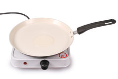 Electric portable hotplate with ceramic frying pan (Clipping pat Stock Images
