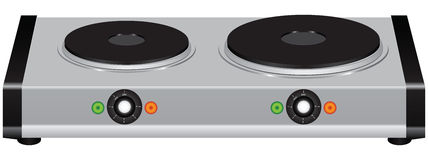 Electric portable stove. On a double element. Vector illustration Stock Images