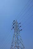 Electric post and animal protection. On blue sky Royalty Free Stock Photo