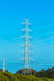 Electric post with blue sky, chiangmai Thailand Royalty Free Stock Image