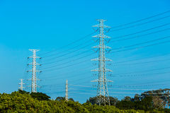 Electric post with blue sky, chiangmai Thailand Stock Photos