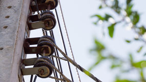 Electric post with insulator Stock Photo