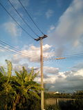 Electric post power line Stock Image