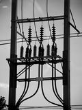 Electric post power line Royalty Free Stock Images