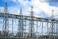Electric post power-plant transformer station. Royalty Free Stock Photography
