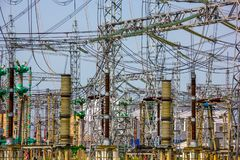 Electric Post Power Station. Electric Post Power-plant Transformer Station royalty free stock photo