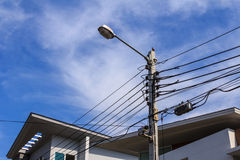 Electric post. To many functional electric post in village.You can see street lame, electric cable,telephone cable,cctv and bird stay on electric post royalty free stock image
