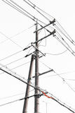 Electric post with white background (). Electric post and wires on white background Stock Photo