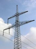 Electric power. Lines and pylon in front of blue sky stock photos