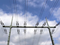 Electric power. Lines in front of blue sky stock images