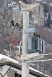 Electric Power allinea il connettore nella neve Immagine Stock Libera da Diritti