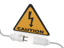 Electric power cable with plug and socket Royalty Free Stock Images