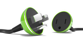 Electric power cable, plug and socket unplugged Royalty Free Stock Photo
