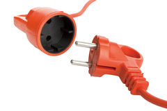 Electric power cable with plug and socket unplugged Royalty Free Stock Photo