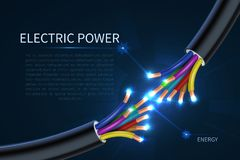 Free Electric Power Cables, Energy Electrical Wires Abstract Industrial Vector Background Stock Photography - 116073552