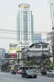 Electric power cables on the street in Bangkok Stock Photos